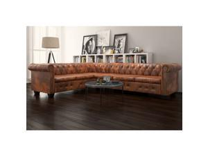 vidaXL Chesterfield Corner Sofa 6-Seater Faux Leather Brown Chaise Longue