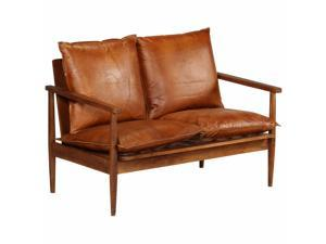 vidaXL 2-Seater Sofa Real Leather with Acacia Wood Brown Chair Seat Furniture