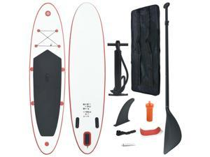 vidaXL Inflatable Stand Up Paddleboard Set Red White Non-slip Deck Surf Fin