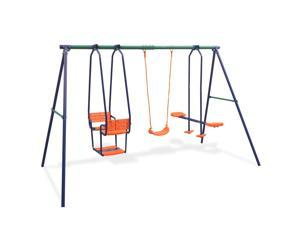 vidaXL Swing Set with 5 Seats Orange Outdoor Children Activity Playset Frame
