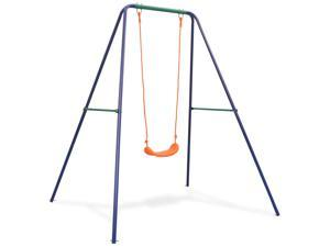 vidaXL Single Swing Orange Outdoor Garden Kids Children Activity Playset Frame