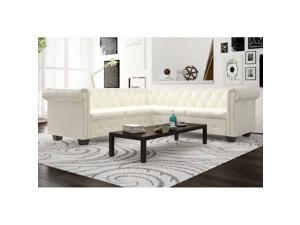 vidaXL Chesterfield Corner Sofa 5-Seater Faux Leather White Chaise Longue