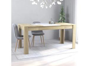 """Dining Table White and Sonoma Oak 63""""x31.5""""x30"""" Chipboard Stylish Design for Kitchen Living Room and Office"""