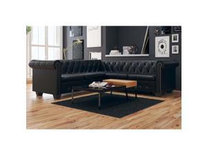 vidaXL Chesterfield Corner Sofa 5-Seater Faux Leather Black Chaise Longue