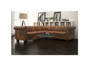 vidaXL Chesterfield Corner Sofa 5-Seater Faux Leather Brown Chaise Longue