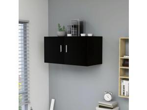 vidaXL Wall Mounted Cabinet Black Chipboard Storage Floating Hanging Chest