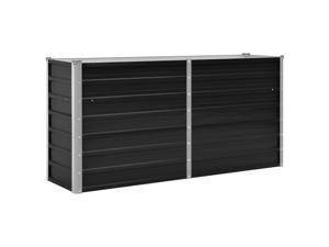 """vidaXL Garden Raised Bed Anthracite 63"""" Galvanised Steel Outdoor Planter Pot"""