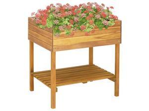 "vidaXL Solid Acacia Wood Raised Garden Planter 30.9"" Growing Box Gardening"