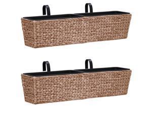 vidaXL 2x Garden Planters Water Hyacinth Brown Outdoor Raised Bed Plant Box