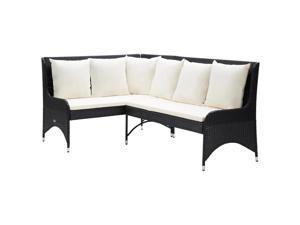 vidaXL 2x Garden Corner Sofas Poly Rattan Black Outdoor Patio Lounge Seating