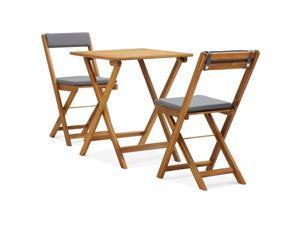vidaXL Solid Acacia Wood Folding Bistro Set with Cushions 3 Pieces Garden