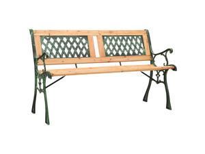 "vidaXL Solid Firwood Garden Bench 48"" Cast Iron Outdoor Patio Lounge Seating"