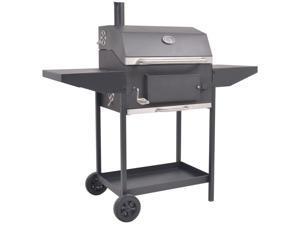 vidaXL BBQ Charcoal Smoker with Bottom Shelf Black Barbecue Grill Stand Garden