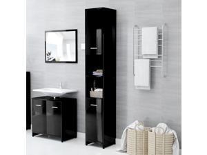 vidaXL Bathroom Cabinet High Gloss Black Chipboard Cupboard Storage Laundry