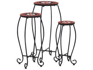 vidaXL 3x Mosaic Table Terracotta and White Ceramic Plant Stand Flower Table