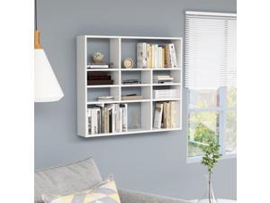 vidaXL Wall Shelf High Gloss White Chipboard Kitchen Bathroom Storage Rack
