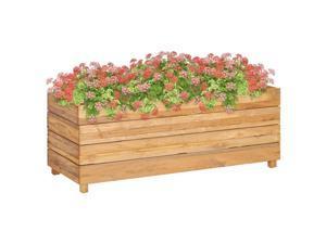 "vidaXL Raised Bed 39.4"" Recycled Teak and Steel Garden Planter Flower Box Pot"
