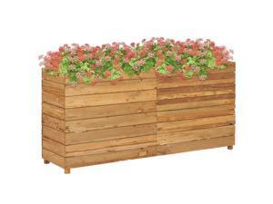 "vidaXL Raised Bed 59.1"" Recycled Teak and Steel Garden Planter Flower Box Pot"