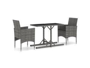 vidaXL Garden Dining Set 3 Piece Gray Outdoor Patio Balcony Dinner Table Chair