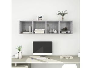 vidaXL 4x Wall Cabinets Concrete Gray Chipboard Wall Mounted Floating Shelves