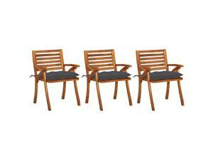 vidaXL 3x Solid Acacia Wood Garden Dining Chairs with Cushions Outdoor Dinner