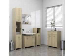 vidaXL Bathroom Furniture Set 4 Piece Sonoma Oak Cabinet Rack Cupboard Storage