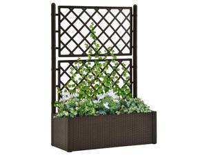 vidaXL Garden Raised Bed with Trellis and Self Watering System Mocha Outdoor