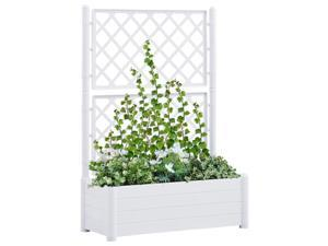 vidaXL Garden Planter with Trellis PP White Raised Beds Flower Box Plant Pots