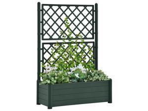 vidaXL Garden Planter with Trellis PP Green Raised Beds Flower Box Plant Pots