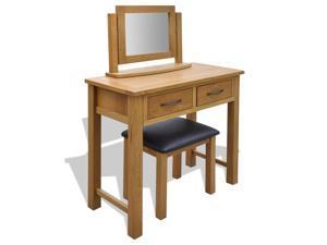 vidaXL Oak Dressing Table with Stool