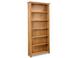 vidaXL Solid Oak Wood 6-Tier Bookcase Book Shelves Cabinets Display Shelf