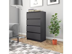 "vidaXL Sideboard 4 Drawers Black 23.6/"" Chipboard Storage Dresser Side Cabinet"
