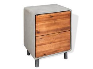"""vidaXL Solid Acacia Wood Nightstand Concrete with 2 Drawers 15.7""""x11.8""""x19.7"""""""