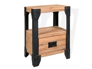 vidaXL Solid Acacia Wood Nightstand Steel Small Bedside Table Side Cabinet