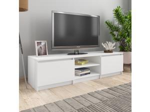 "vidaXL TV Cabinet White 55.1"" MDF board TV Stand Unit Entertainment Center"