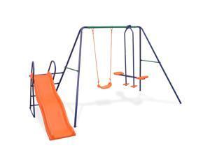 vidaXL Swing Set with Slide and 3 Seats Orange Outdoor Kids Activity Playset