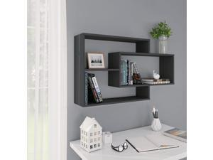 vidaXL Wall Shelves Gray Chipboard Hanging Display Wall Storage Cabinet Shelf
