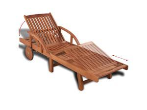 vidaXL Patio Outdoor Sun Lounger Solid Acacia Wood Outdoor Indoor Backyard Porch Garden Poolside Balcony Use Furniture