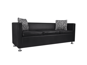Artificial Leather 3-Seater Sofa Black