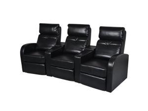vidaXL Artificial Leather Home Cinema Recliner Reclining Sofa 3-seat Black