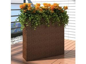 vidaXL Garden Raised Bed with 4 Pots Poly Rattan Brown Lawn Flower Container