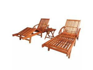 vidaXL Sunlounger and Table Set 3 Pieces Solid Acacia Wood Brown
