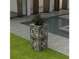 "vidaXL Gabion Raised Bed Steel 19.7""x19.7""x39.4"" Patio Flower Plant Bed Basket"