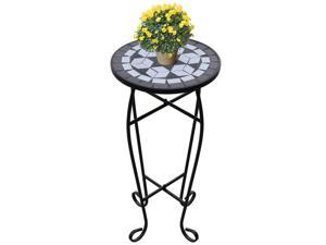 vidaXL Mosaic Side Table Plant Table Black White