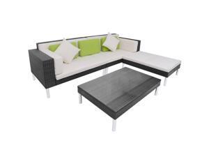 vidaXL Garden Sofa Set 17 Pieces Poly Rattan Black Outdoor Bed Seating Lounge