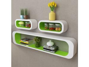 3 White-Green MDF Floating Wall Display Shelf Cubes Book/DVD Storage