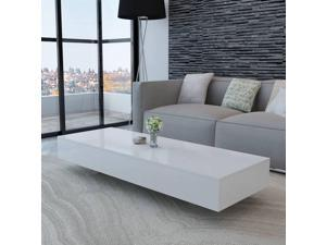 """vidaXL Coffee Table High Gloss White 45.3"""" Accent Tea Side Living Room Stand"""