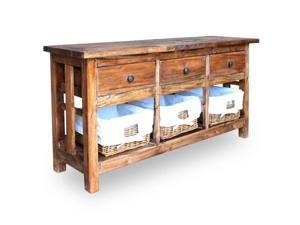 vidaXL Sideboard w/ Rattan Baskets Solid Reclaimed Wood TV Stand Console Table