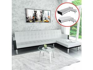 vidaXL L-shape Sofa Bed Black and White Artificial Leather Lounge Seating