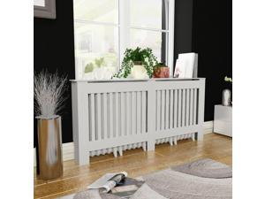 vidaXL Radiator Cover White Vertical Slats Modern Heating Wall Cabinet Home